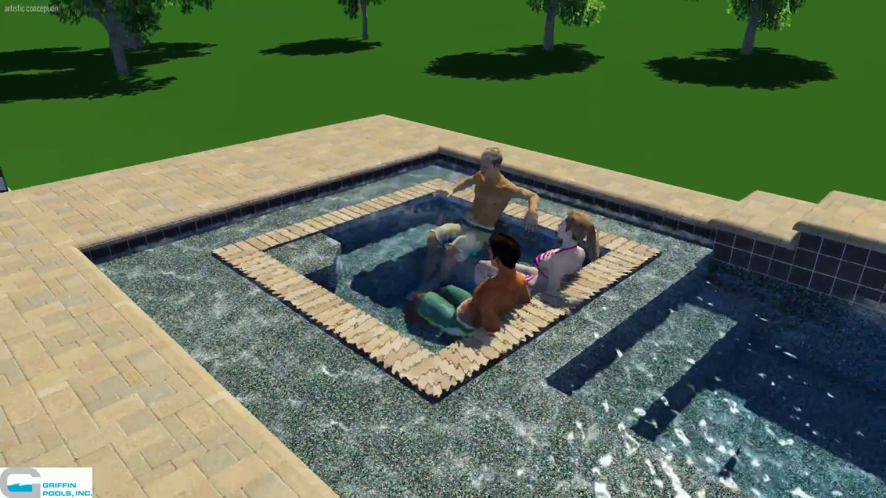 Griffin Pools Inc Custom Pool Design With Waterfall And Rim Flow Spa