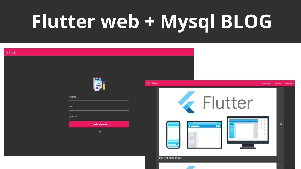 1  Flutter web and MYSQL Blog website: initial set up