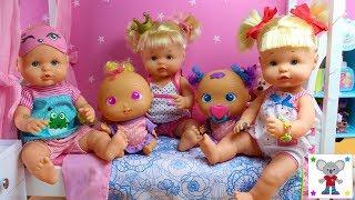 RUTINA DE NOCHE Bebés Nenuco HERMANITAS TRAVIESAS en casa de Cuca con los Bebés BELLIES