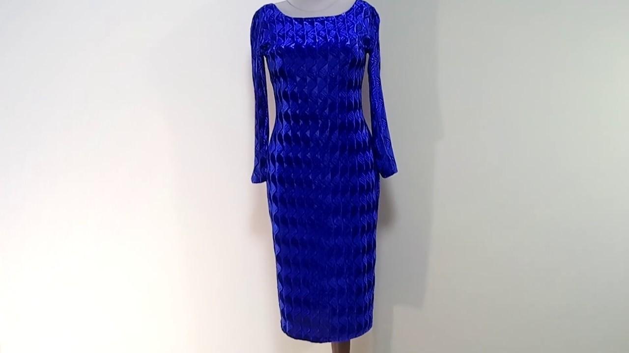 Синее блестящее платье с перчатками и шарфом - YouTube