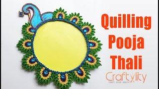 DIY Quilled Pooja Thali | Quilled Aarti Thali | Navratri Thali Decoration