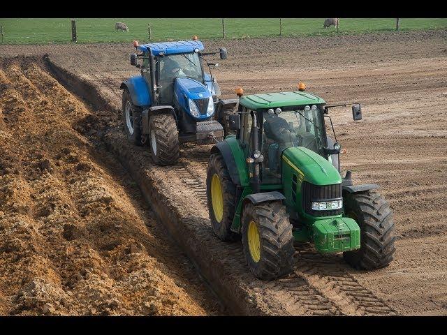 John Deere en New Holland samen diepploegen loonbedrijf Markvoort