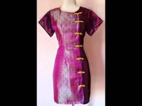 Baju Kerja Terbaru Model Dress Batik Solo Dengan Kain Songket