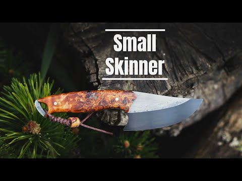 Knife Making - Small SKINNER W/ Black Blade And Stabilized Wood Handle