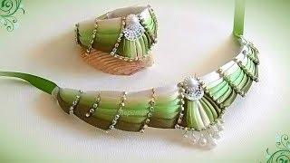 Колье-чокер  и браслет своими руками из косой бейки, Мк Лерита / DIY  necklace