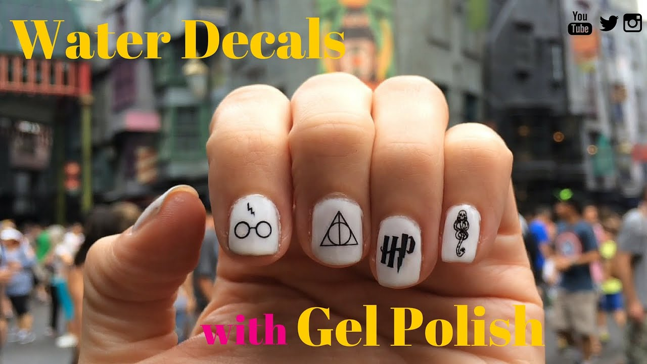 Harry Potter Nails Applying Water Nail Decals With Gel Nail Polish