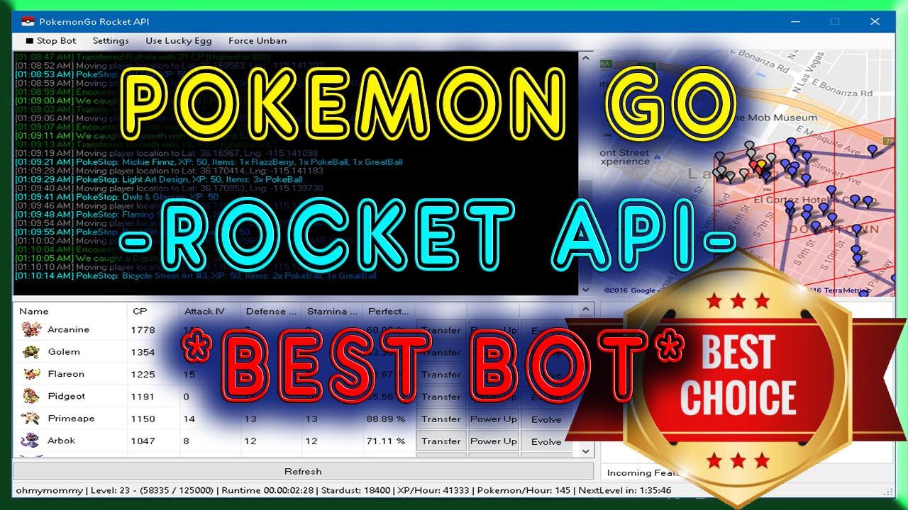 Easiest Tutorial Pokemon GO Rocket API [BOT - FAST Leveling + MORE!!]