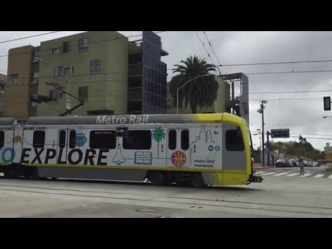 The first Expo Line train rolls into the Downtown Santa Monica Station.