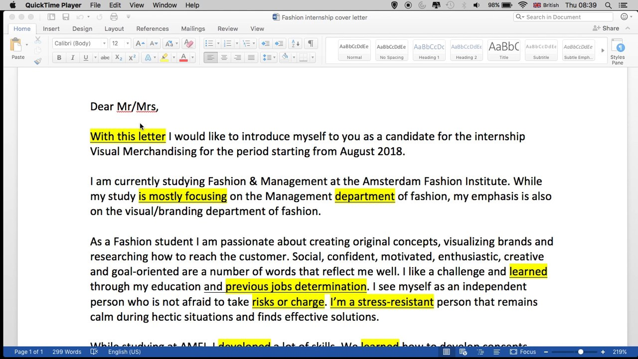 Good Fashion Cover Letter Primary Pictures Memorable