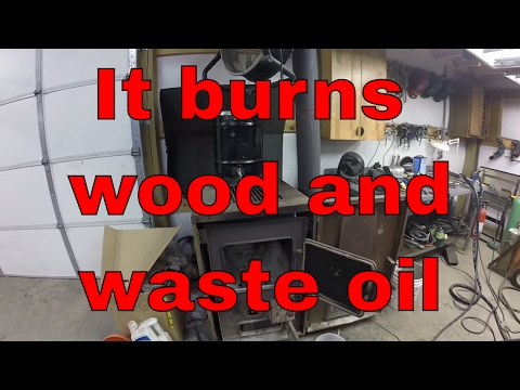 Waste oil wood shop Heater combination