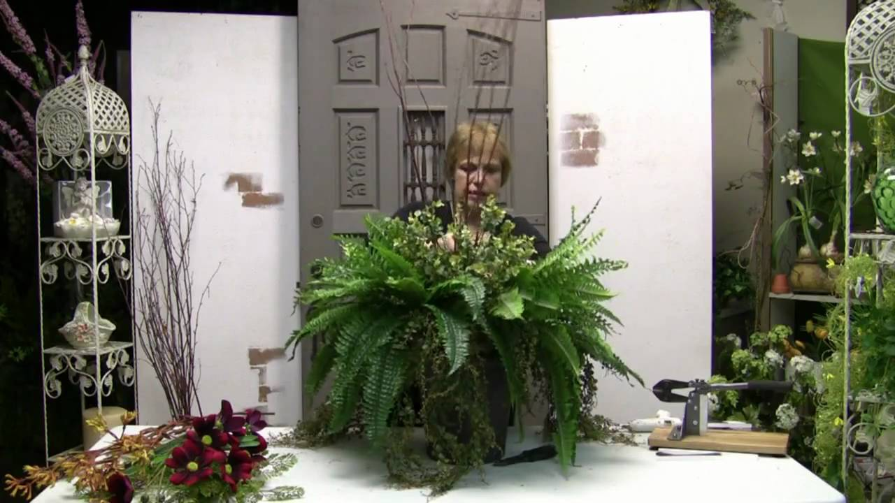 How To Fill An Outdoor Planter With Artificial Flowers Youtube