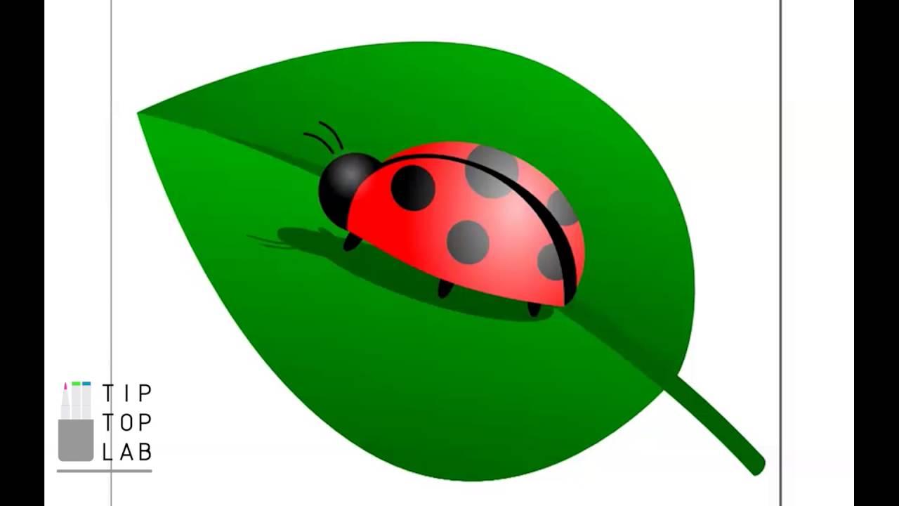Inkscape Tutorial: Ladybird On Leaf - YouTube for Clipart Ladybug On Leaf  181obs