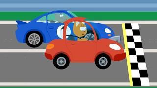 Мультфильм про машинки – Котенок и волшебный гараж – Гонка по прямой - Для самых маленьких