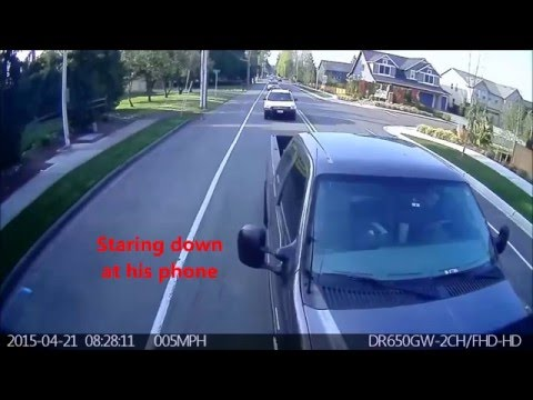 Texting Driver Car Accident Caught on DashCam HD Part 2