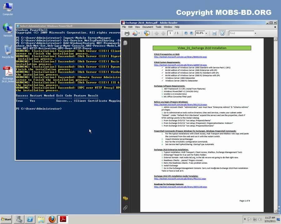 Microsoft Exchange Server 2010 Installation Prerequisites