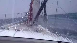Discovery 57 sailing to Gibraltar - WINDSPEED OF 35-42 KNOTS