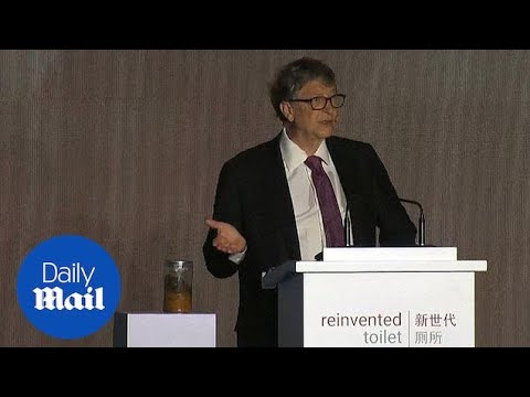 Bill Gates brings a jar of poop to talk at Reinvented Toilet Expo