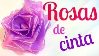 Repeat youtube video Cómo hacer rosas de cinta (lazos / moños para regalo).