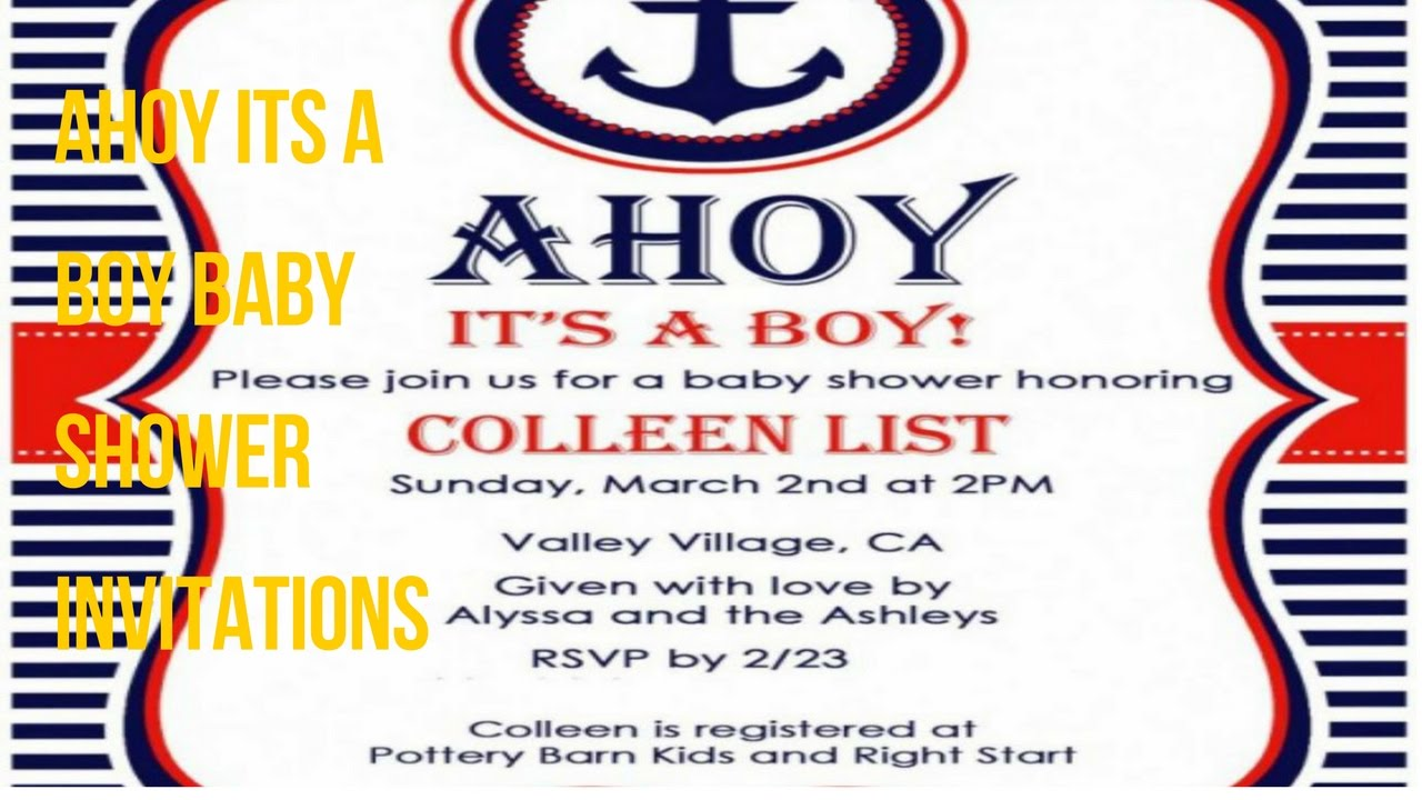Ahoy Its A Boy Baby Shower Invitations