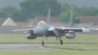 Incredible noise of 4 Lakenheath F15s departing RAF Mildenhall 26jul17 152p etc