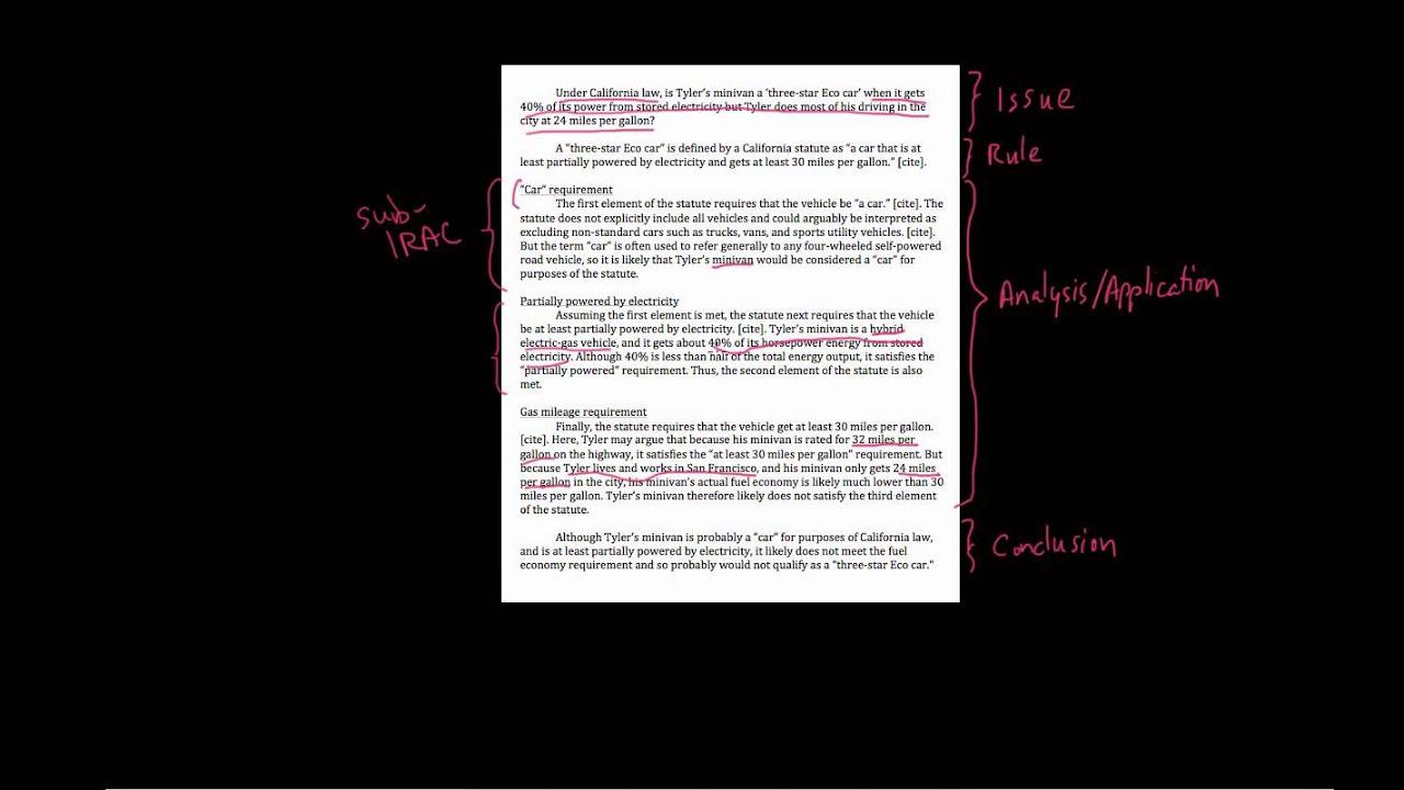 25. IRAC with statutes - sample memo