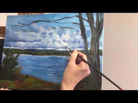 Summer Lake Scene Acrylic Painting – Time Lapse by Linda Marino