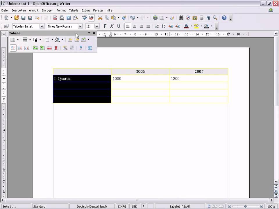 Openoffice writer tabellen erstellen youtube for Tabelle open office