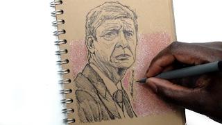 SKETCH SUNDAY #21 How To Draw Arsene Wenger - Arsenal - DeMoose Art