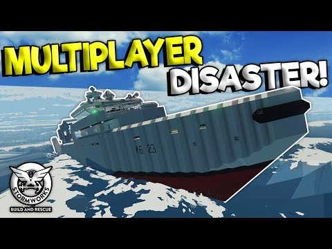 MULTIPLAYER RESCUE TURNS SINKING DISASTER! - Stormworks: Build And Rescue Gameplay - Ship Survival