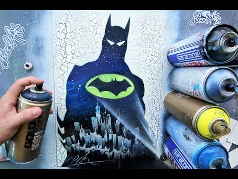 BATMAN son of Gotham  GLOW IN DARK - SPRAY PAINT ART by Skech - Ржачные видео приколы