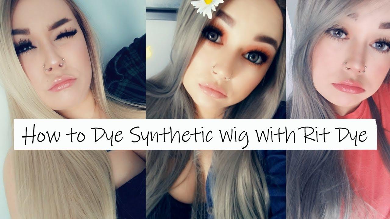 How to dye a synthetic wig | Rit dye method.
