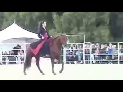 Amazing Arab girl dancing with her horse