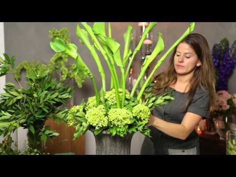 How to Arrange Flowers Using Calla Lilies & Green Hydrangeas : Flower Power