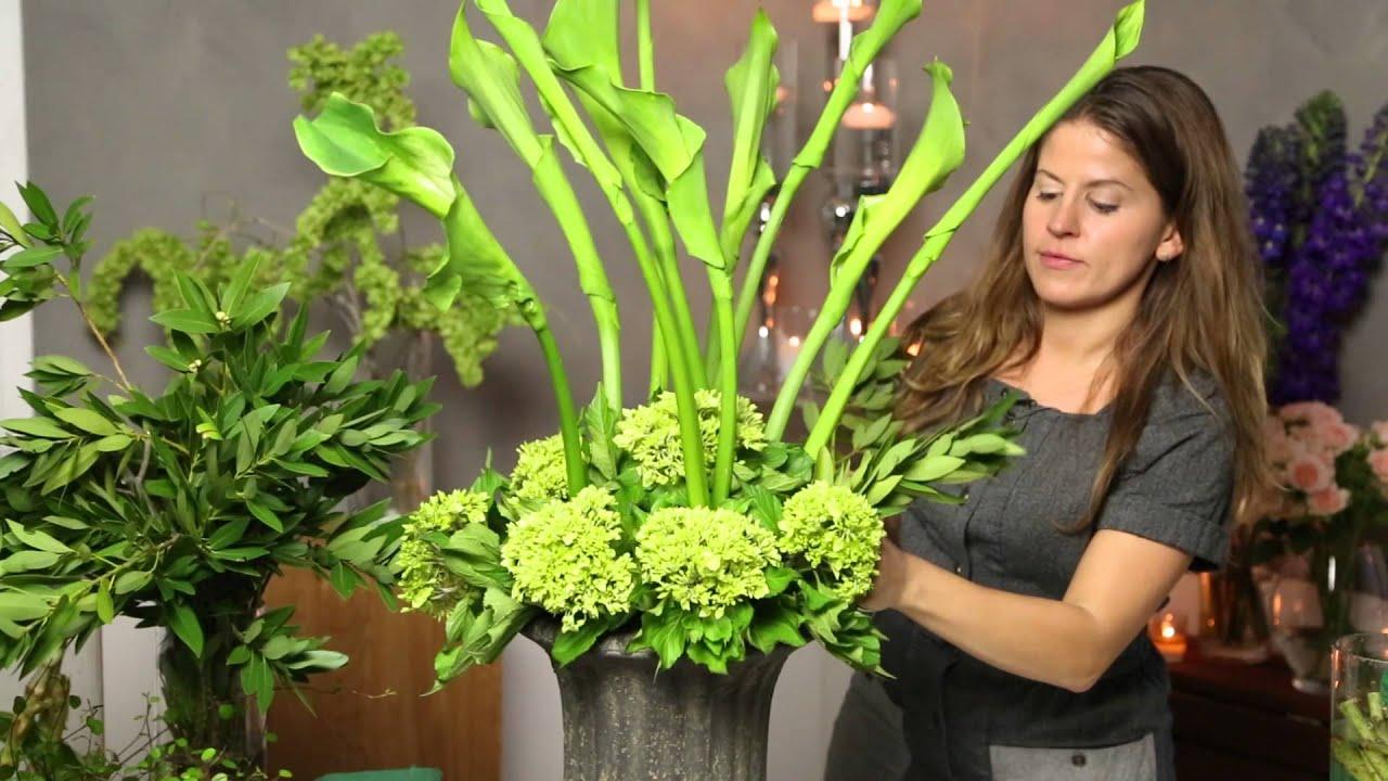 How to Arrange Flowers Using Calla Lilies  Green Hydrangeas  Flower Power  YouTube