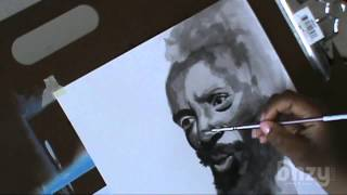 Drawing Dick Gregory - India Ink and Pen Speed Drawing