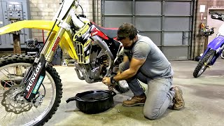 How to change oil on 4 stroke dirt bike, Suzuki RMZ 450 - Part 1