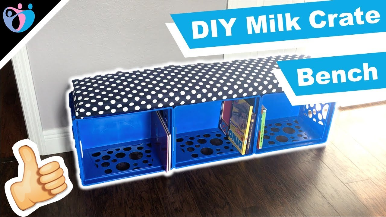 How To Make A DIY Milk Crate Bench Out Of Storage Containers, Great For Kids
