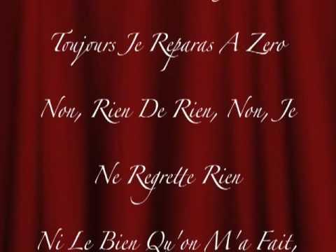 Edith Piaf - Non, Je ne regrette rien with lyrics. by ...  Edith