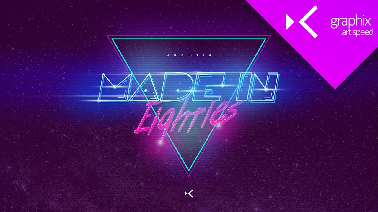 Made in 80s Wallpaper - Art Speed Graphic Design Concept | Photoshop CC 2015 - GraphixTV - YouTube
