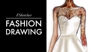 WEDDING DRESS Fashion Drawing Tutorial