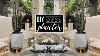 DIY Easy Concrete + Wood Planter