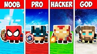 Minecraft NOOB vs PRO vs HACKER vs GOD : SUPERHERO LIVING BLOCKS BATTLE ADVENTURE | Challenge!