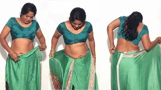 How to wear a aunty saree ||navel show with perfect|| easy way||
