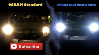 Chevrolet Orlando: OSRAM Standard Vs Philips Blue Vision Ultra (Best HID xenon effect)