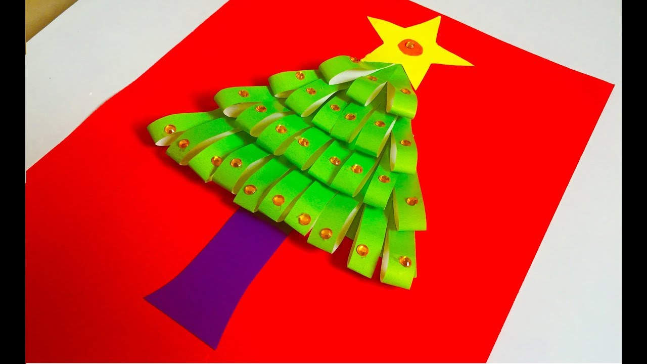 How to make a Christmas Tree with simple color paper in 5 minutes ...