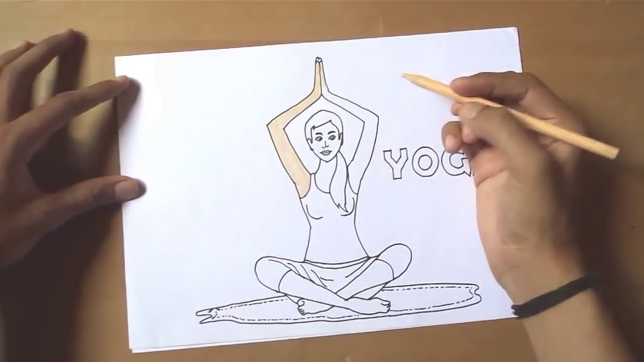 How To Draw International Yoga Day 2018 World Yoga Day Youtube