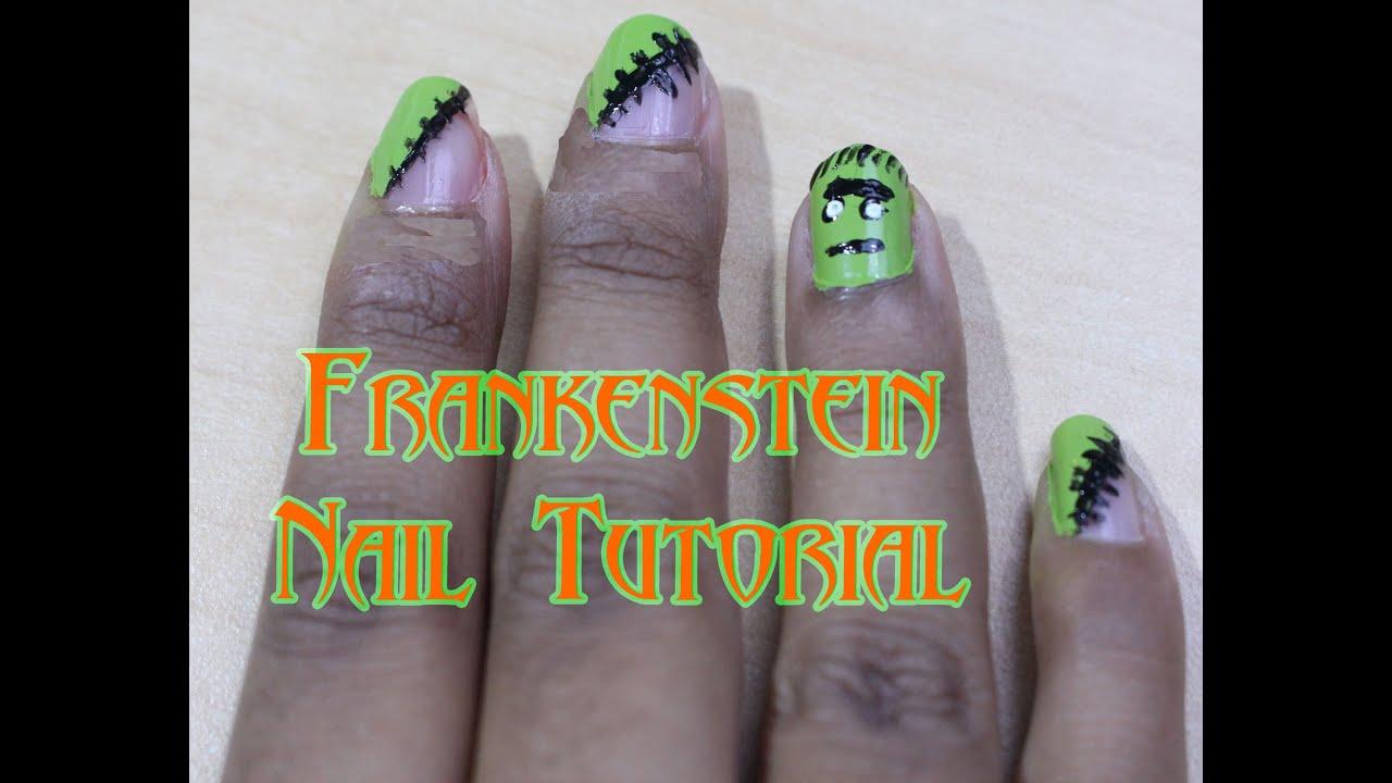 Halloween Nail Art Tutorial: Frankenstein Inspired - YouTube
