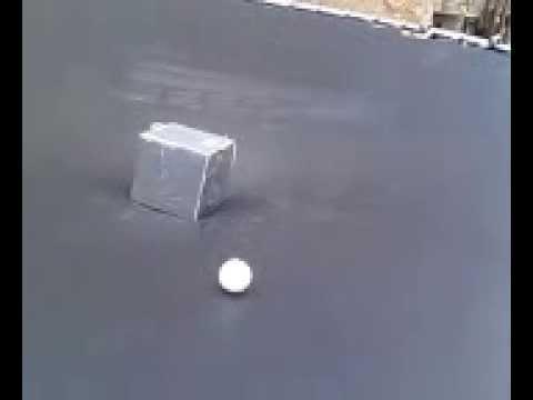 80lb Lead Cube On Trampoline