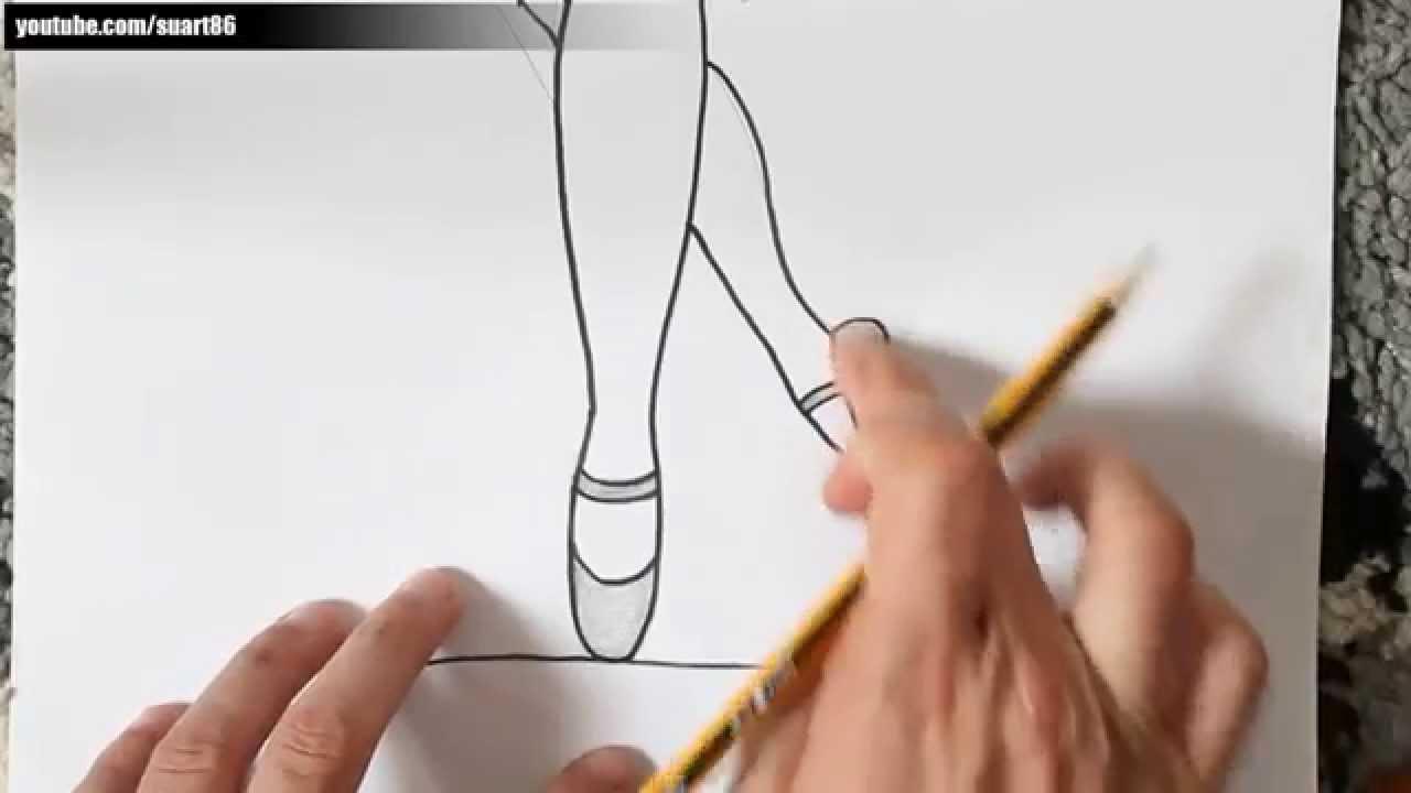 Como dibujar zapatillas de ballet paso a paso - YouTube