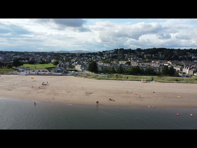 Flying along Broughty Ferry beach towards the castle